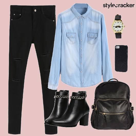 Shirt Denim Ripped Boots Backpack - StyleCracker