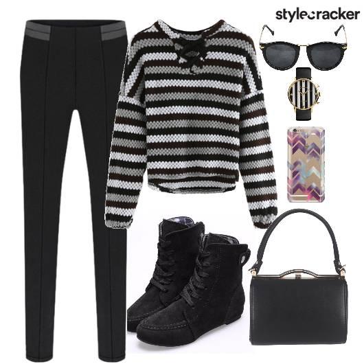 Top Stripes Shoes Bag Watch  - StyleCracker