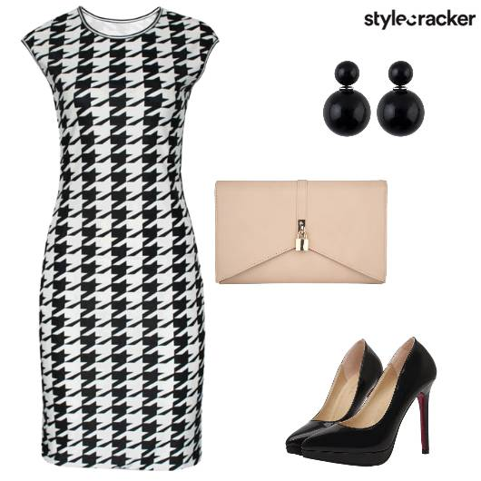 Houndstooth Dress Heels Dinner  - StyleCracker