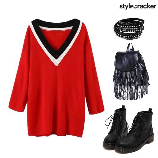 SportyMeetsEdgy Grunge SweaterDress - StyleCracker