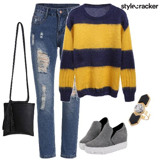 Sweater RippedDenim Casual  - StyleCracker