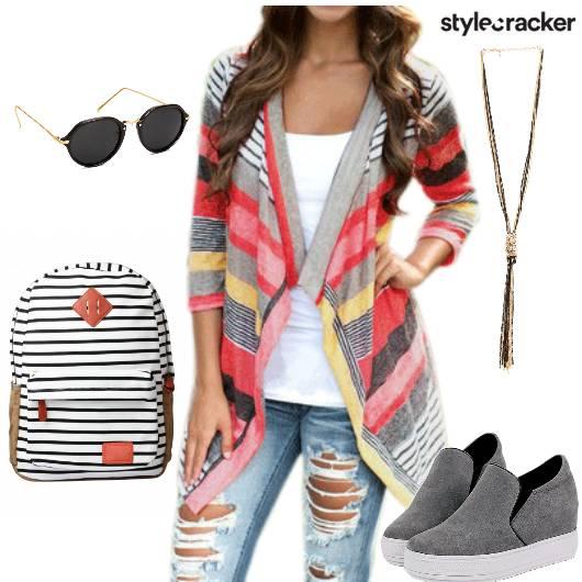 StripedCape BasicTee RippedDenims  - StyleCracker