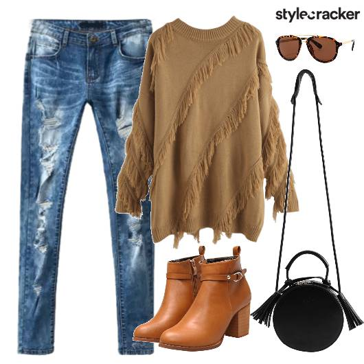 Sweater Fringe Shoes Boots Ripped - StyleCracker
