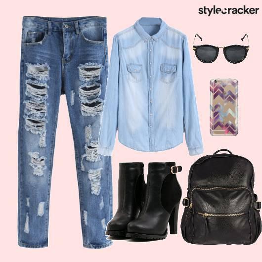 Denim Backpack Boots PhoneCover - StyleCracker