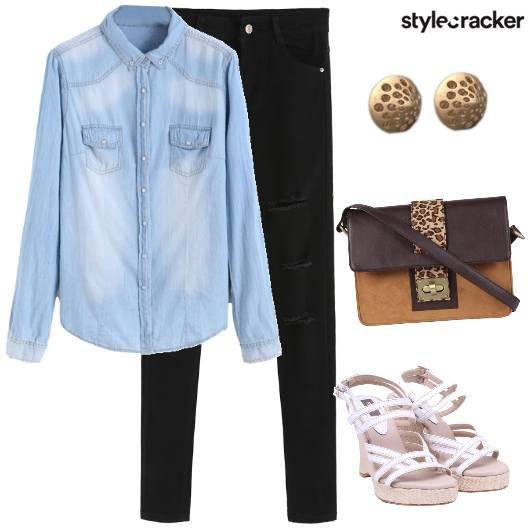 Denim Casual Wedges  - StyleCracker