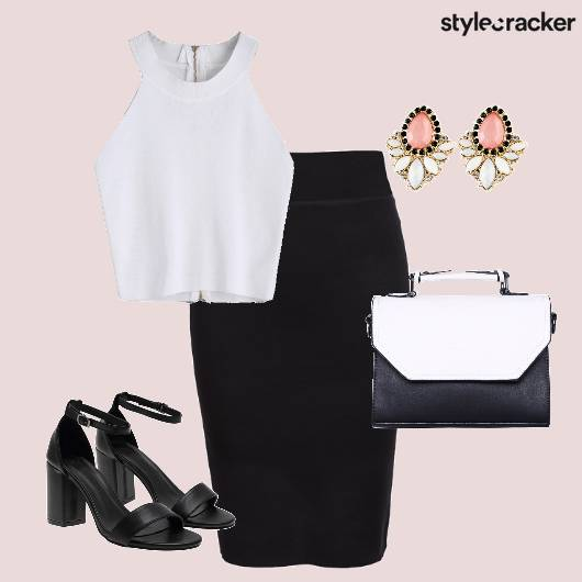 Skirt CropTop BlockHeels  - StyleCracker