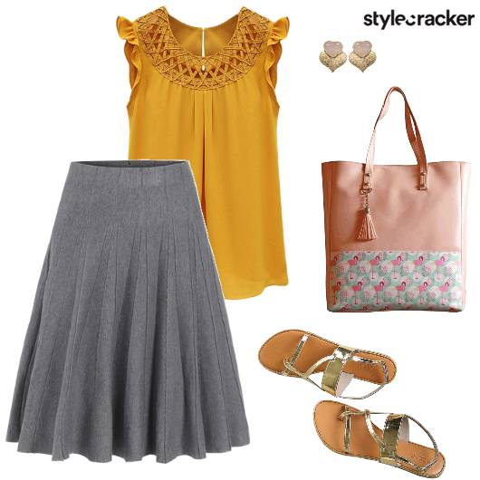 MidiSkirt Blouse Day Outing  - StyleCracker