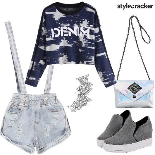 RippedDenim Romper DenimPrint CropSweatshirt - StyleCracker