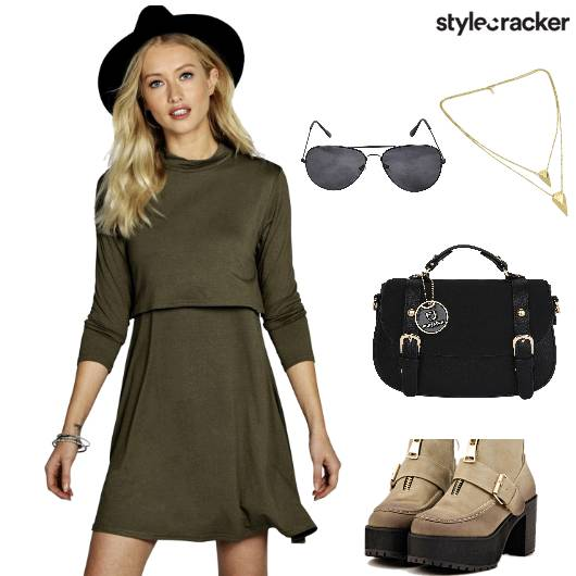 MilitaryGreen SkaterDress Aviators - StyleCracker