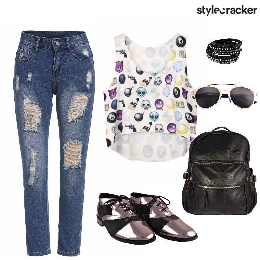 AfterCollege Chilling  RippedJeans CropTop - StyleCracker