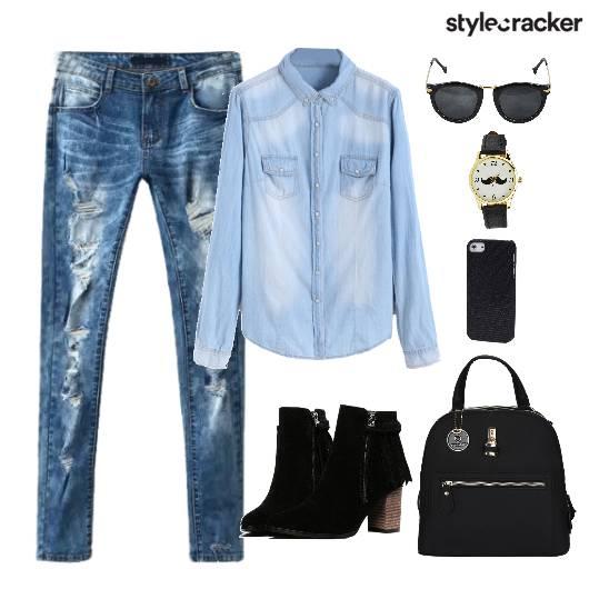 Denim Bag Shoes Watch - StyleCracker