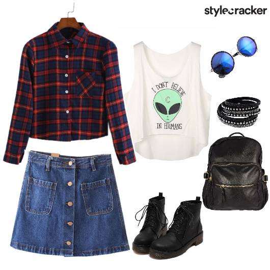 GigReady DenimSkirt PlaidShirt CropTop - StyleCracker