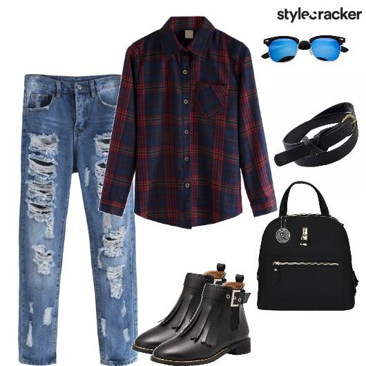 Plaidshirt Distressedjeans Tasseledboots Backpack  - StyleCracker