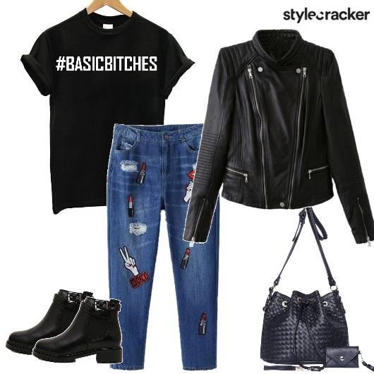 Leatherjacket Patchworkjeans Bucketbag boots - StyleCracker