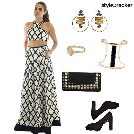 Croptop Skirt Peeptoes Clutch Party - StyleCracker