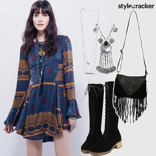 Babydoll Dress Fringe Layered Necklace - StyleCracker