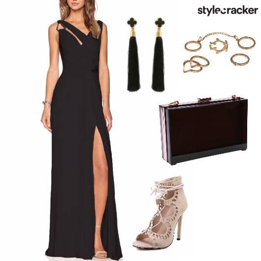 LongDress LaceUp TasselEarring Party Night  - StyleCracker