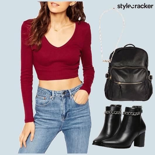 Croptop Jeans Basics Collegewear  - StyleCracker