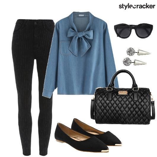 WorkWear DenimToWork BowBlouse - StyleCracker