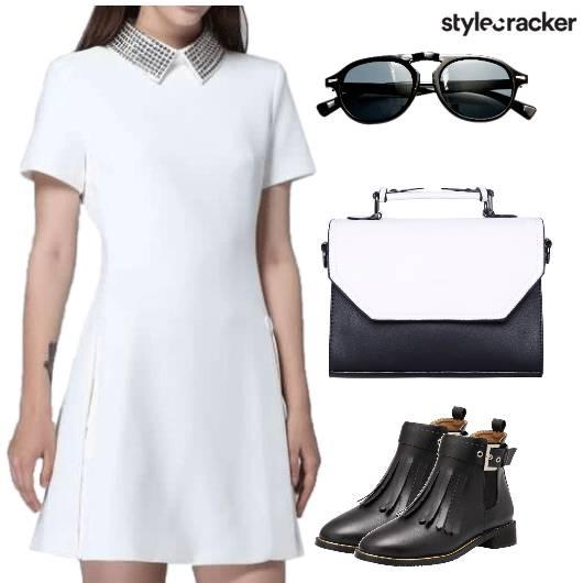 CollarDress Monochrome FringeShoes  - StyleCracker