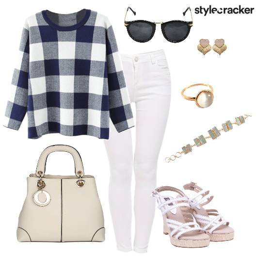 Plaid WhitePants Office Casual Winter - StyleCracker