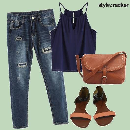 Cami Ripped Jeans Casual  - StyleCracker