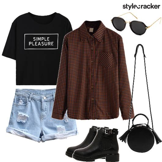 Shorts T-shirt ChecksShirt Layer College Movie  - StyleCracker