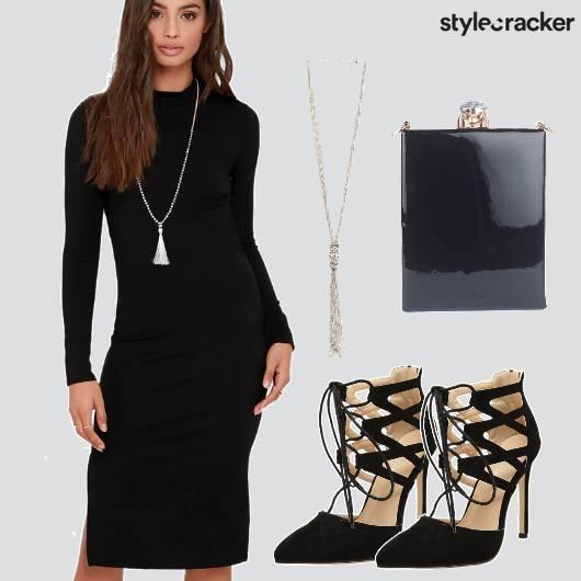Bodycon Dress Black Party  - StyleCracker