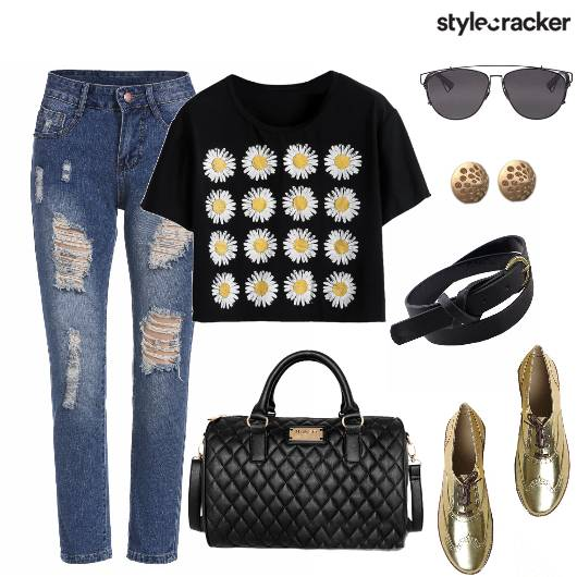 Printed T-Shirt Ripped Jeans Casual DayWear - StyleCracker