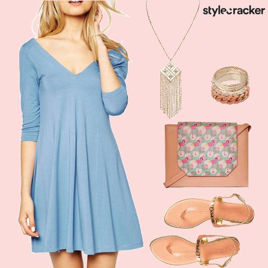 BasicSlipDress FlamingoPrint SlingBag - StyleCracker