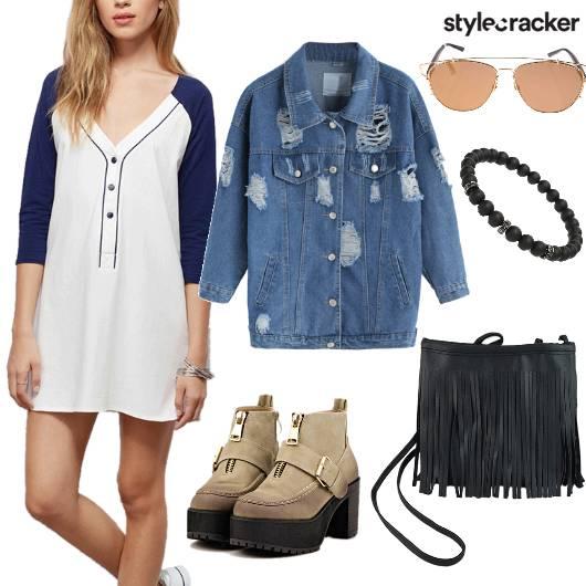 T-shirtDress Denim OverSized JacketLayer WinterFashion DayWear - StyleCracker
