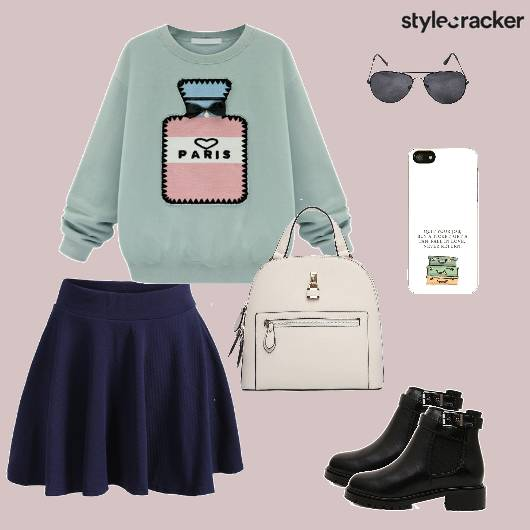 Sweater Skaterskirt Boots Backpack Casual - StyleCracker