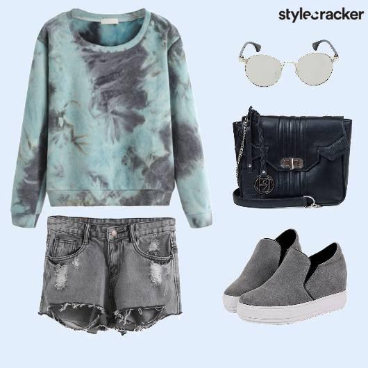 TieDye Sweatshirt RippedShorts College - StyleCracker