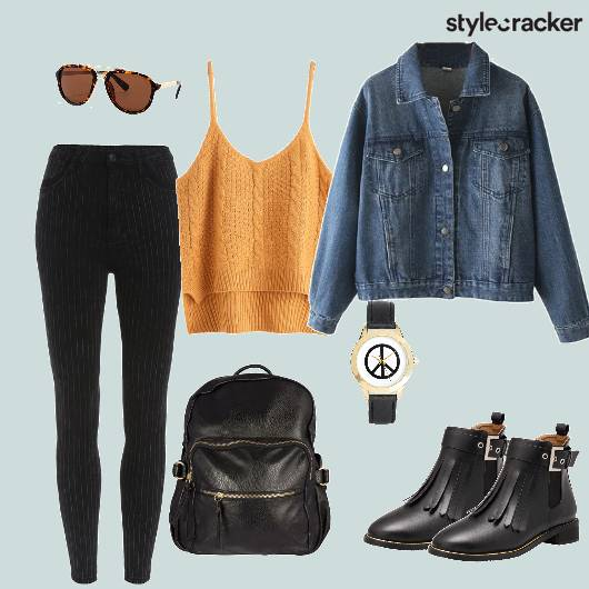 Denim Jacket Highwaist Jeans Backpack Tasseledboots Edgy - StyleCracker