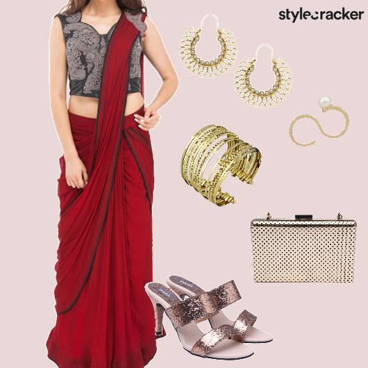 Drapedsaree Clutch Sandals Ethnic - StyleCracker