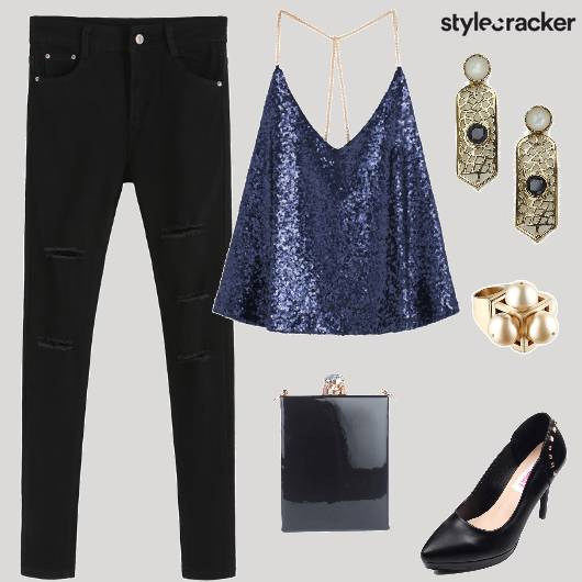 Party SequinnedSlipTop CutoutDenims  - StyleCracker
