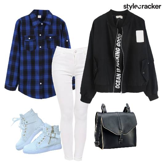 Bomberjacket Plaidshirt Sneakers Crossbodybag - StyleCracker