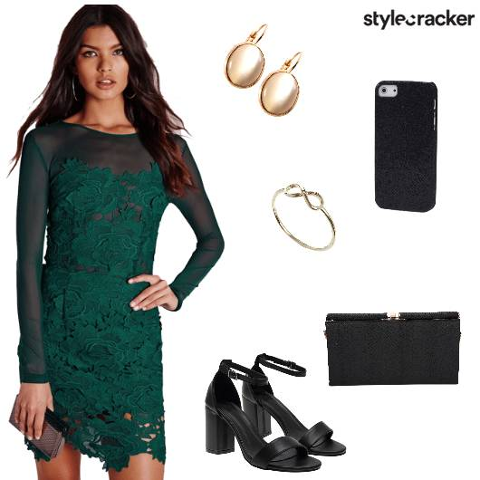 Lace Bodycondress Blockheels Clutch Party - StyleCracker