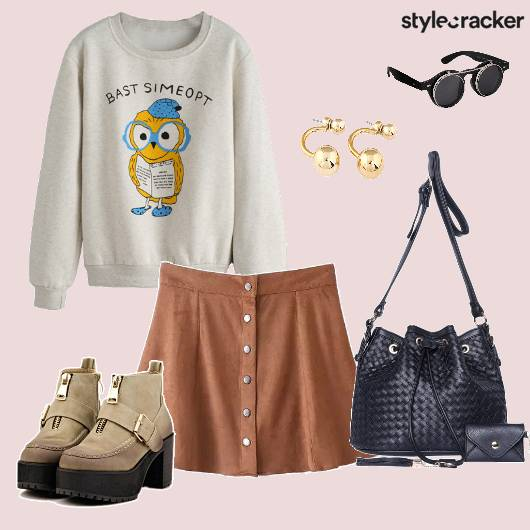 Sweatshirt Skaterskirt Suede Bucketbag Boots Backtoschool - StyleCracker