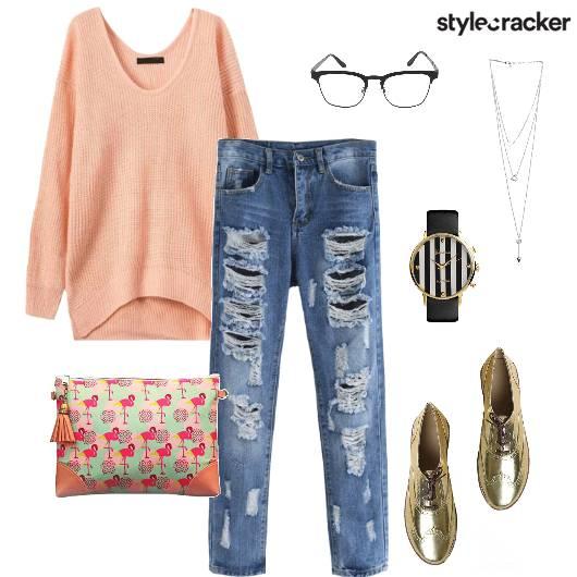 OversizedSweater DistressedJeans PrintedClutch Casual - StyleCracker