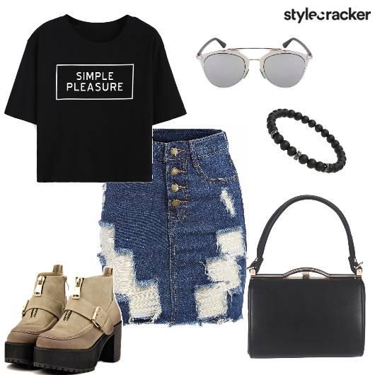 RippedDenim Skirt Casual T-shirt Shoes DayWear Evening - StyleCracker