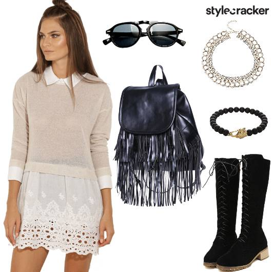 SweatShirt LaceDress Boots Travel DayWear EveningChill WinterFashion - StyleCracker