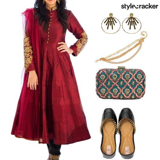 Ethnic Indian Wedding DeepRedAnarkali - StyleCracker
