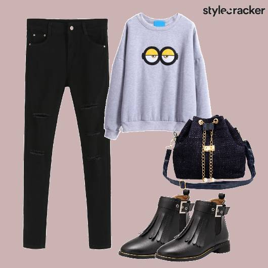 Ripped Denim Graphic Sweatshirt College Wear - StyleCracker