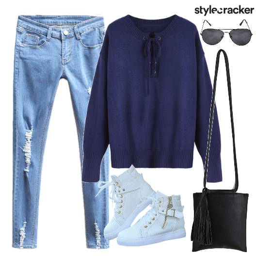 Top Denims Ripped Shoes Bag - StyleCracker