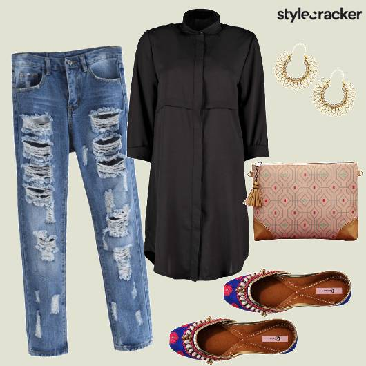Indowestern Jootie Ripped Denim  - StyleCracker