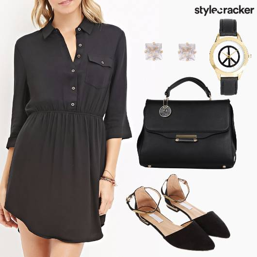 Work Black Classic Flats - StyleCracker