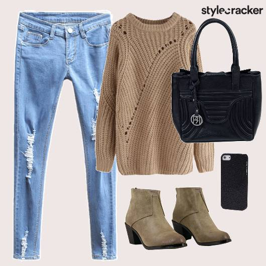 Sweater Ripped Denims Boots Winter - StyleCracker