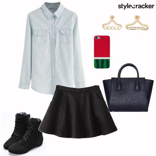 Denimshirt Skaterskirt Handbag Casual - StyleCracker