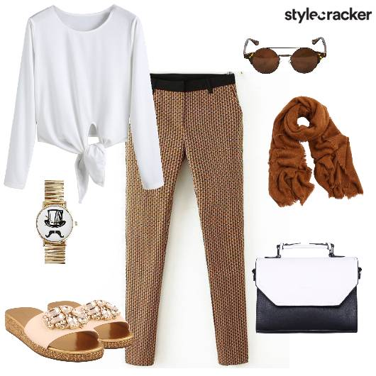 Trousers Knottedtop Scarf handbag CasualFriday - StyleCracker